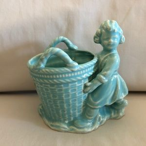 Vintage Figural Girl with Basket Planter